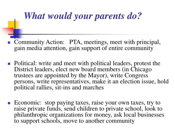 What would your parents do?