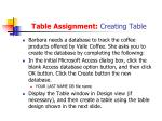 table assignment creating table