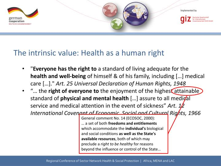 The intrinsic value: Health as a human right