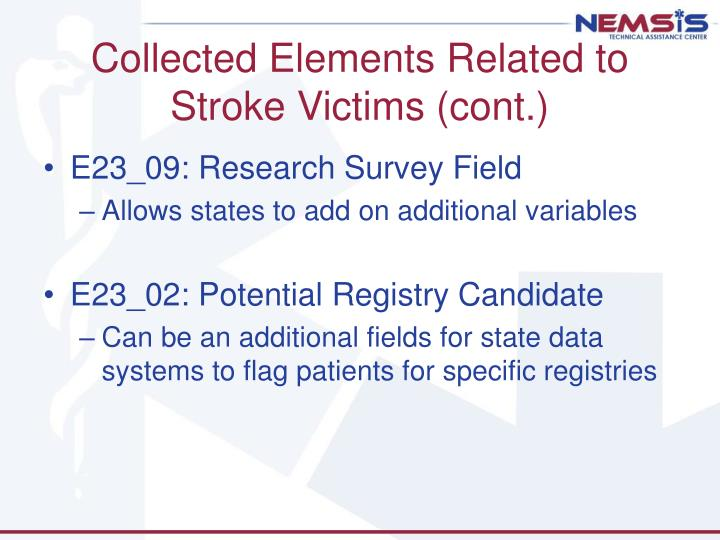 Collected Elements Related to Stroke Victims (cont.)
