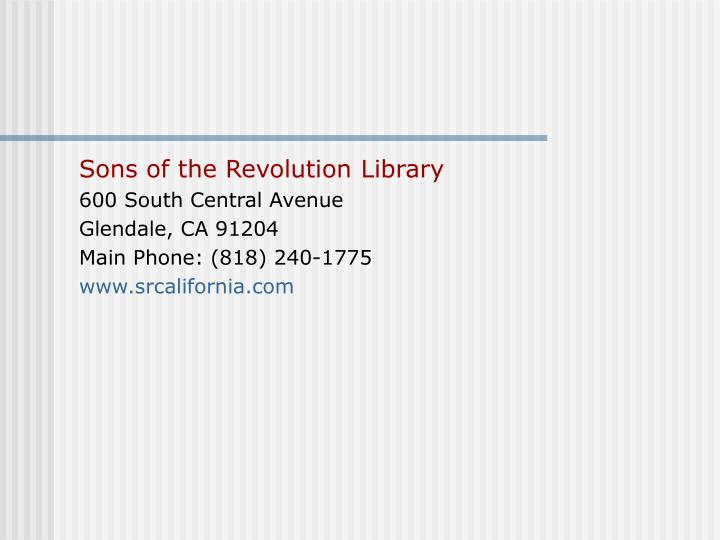 Sons of the Revolution Library
