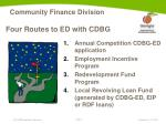 four routes to ed with cdbg