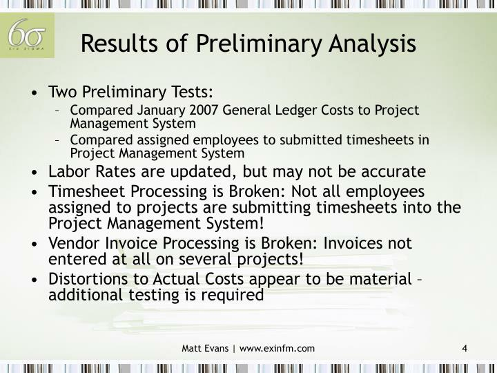 Results of Preliminary Analysis