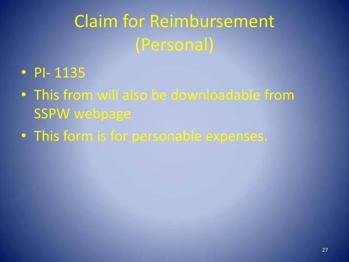 Claim for Reimbursement