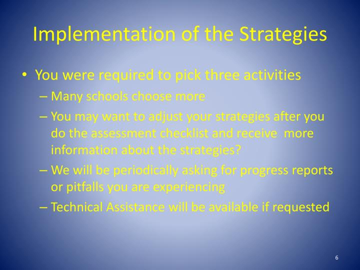 Implementation of the Strategies