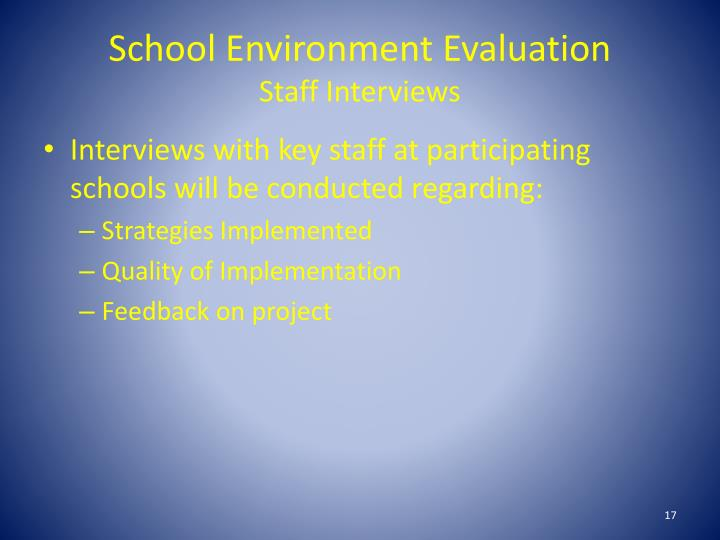 School Environment Evaluation