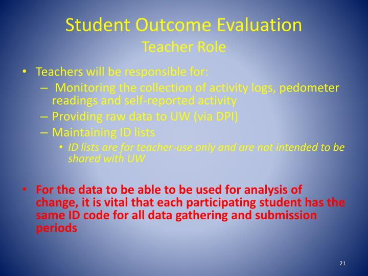 Student Outcome Evaluation