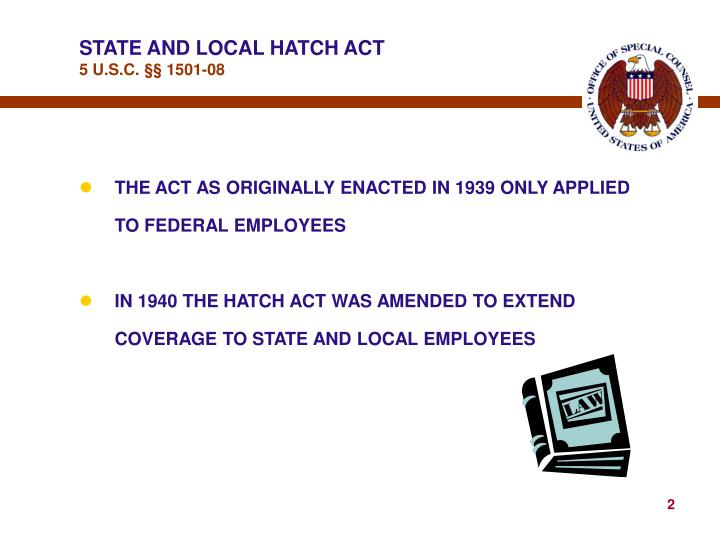 State and local hatch act 5 u s c 1501 08