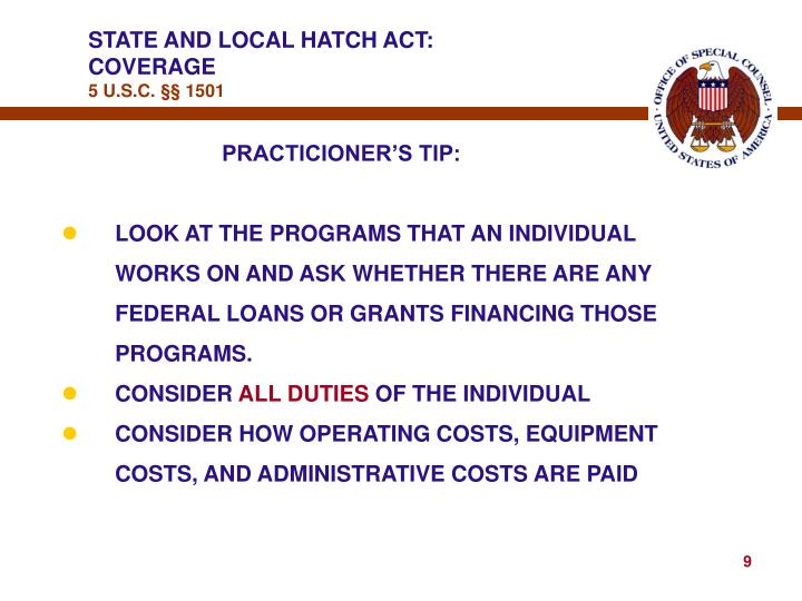 STATE AND LOCAL HATCH ACT: COVERAGE