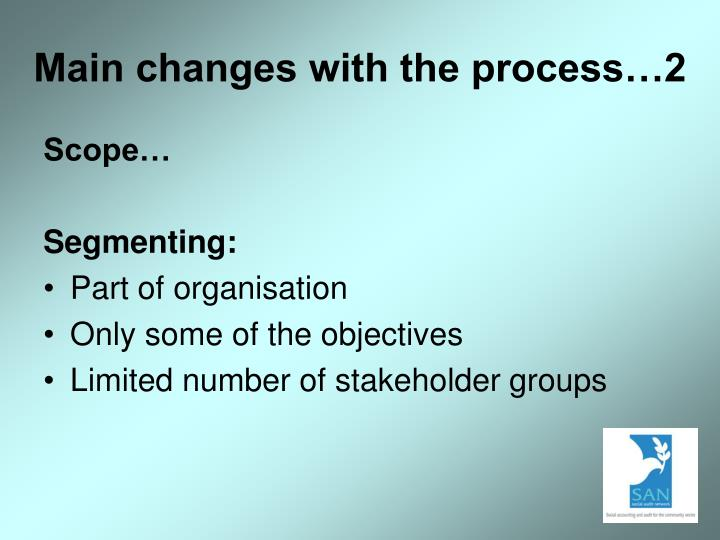 Main changes with the process…2