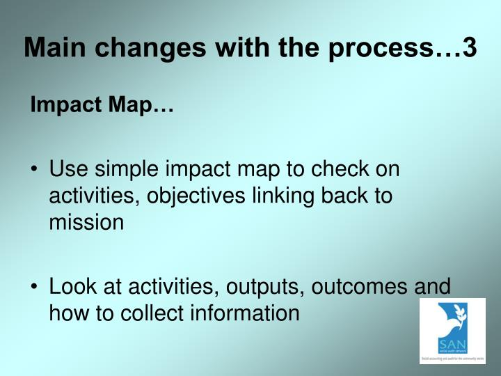 Main changes with the process…3