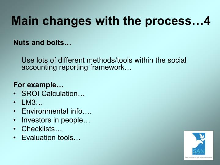 Main changes with the process…4