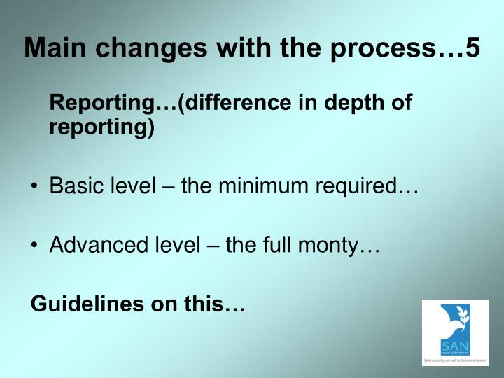 Main changes with the process…5