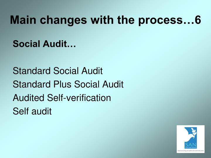 Main changes with the process…6