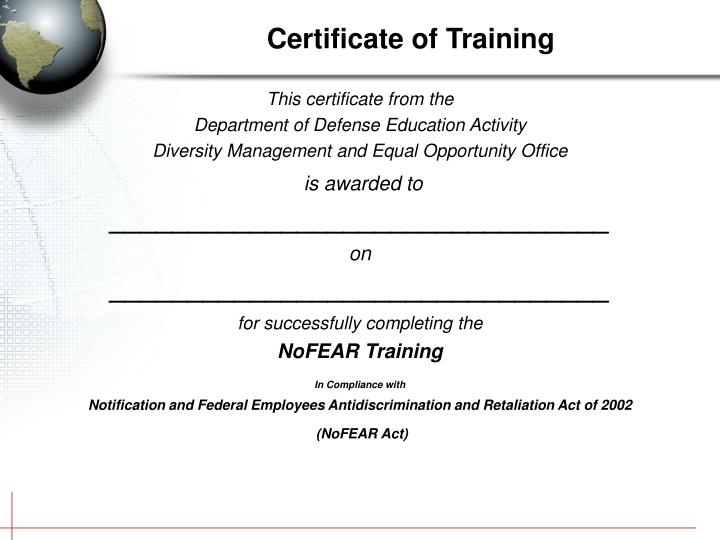 This certificate from the