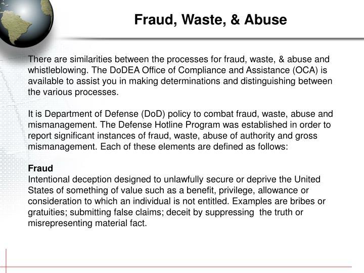 Fraud, Waste, & Abuse