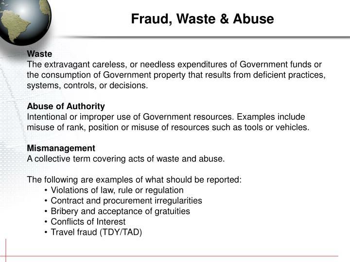 Fraud, Waste & Abuse