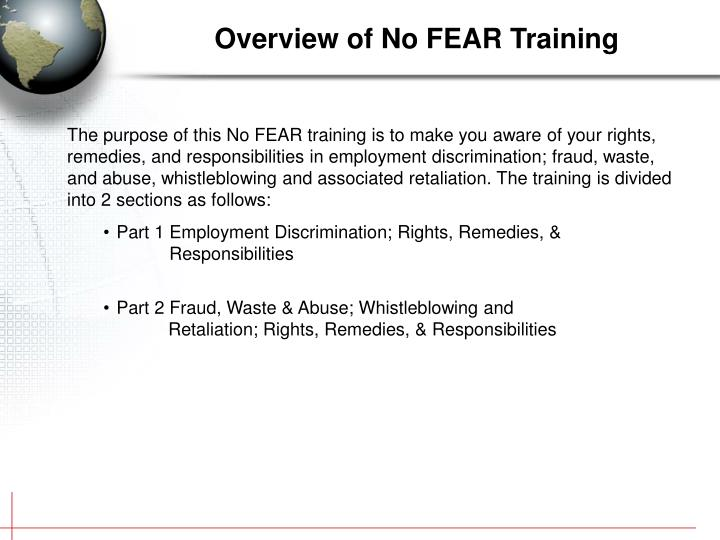 Overview of no fear training
