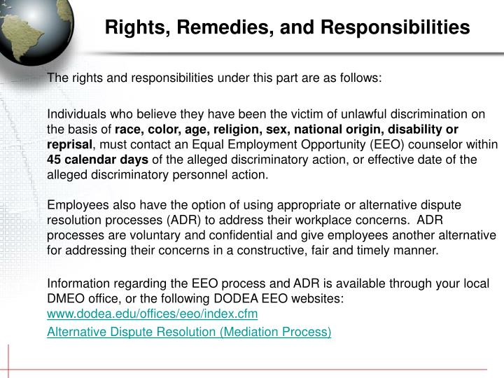 The rights and responsibilities under this part are as follows: