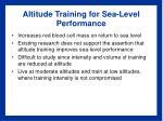 altitude training for sea level performance
