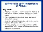 exercise and sport performance at altitude