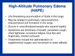 high altitude pulmonary edema hape