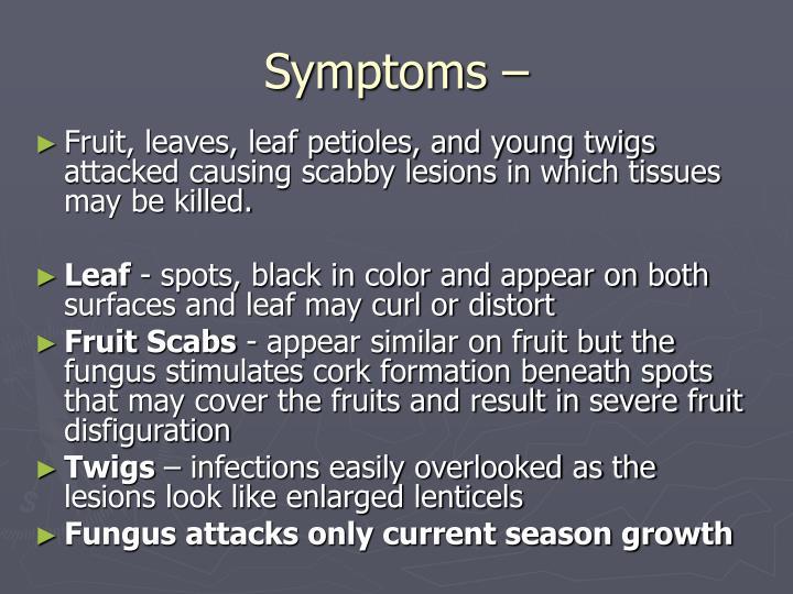Symptoms –