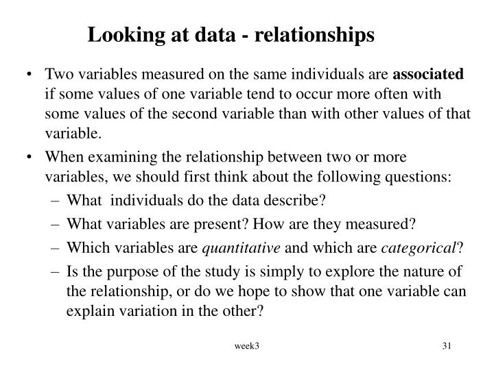 Looking at data - relationships