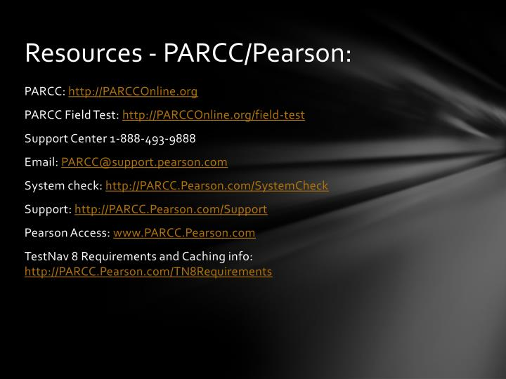 Resources - PARCC/Pearson: