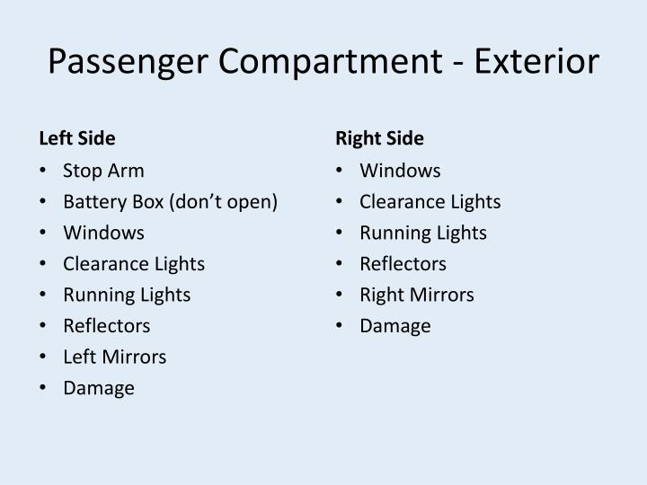 Passenger Compartment - Exterior