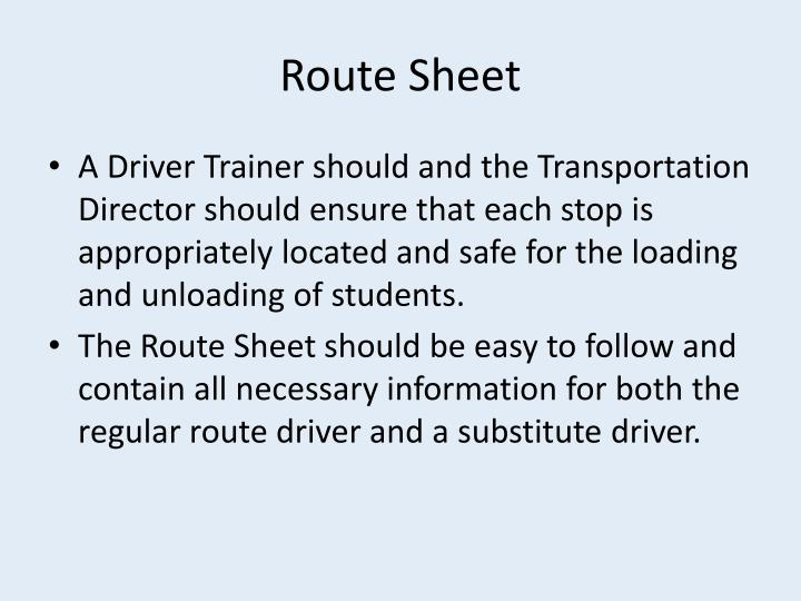 Route Sheet