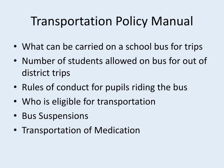 Transportation Policy Manual