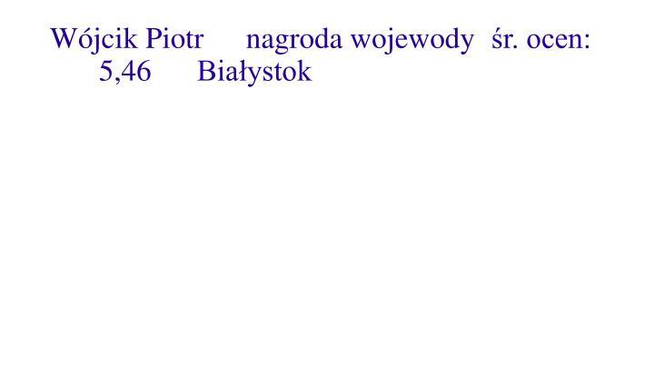 Wójcik Piotrnagroda wojewodyśr. ocen:5,46 Białystok