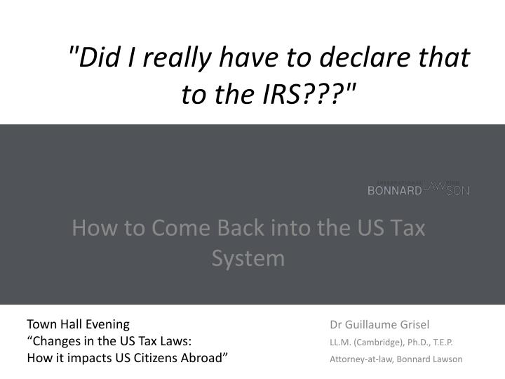 did i really have to declare that to the irs n.