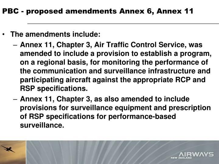PBC - proposed amendments Annex 6, Annex 11