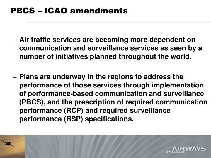 PBCS – ICAO amendments