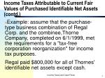 income taxes attributable to current fair values of purchased identifiable net assets contd2
