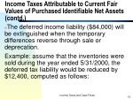 income taxes attributable to current fair values of purchased identifiable net assets contd8