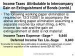 income taxes attributable to intercompany gain on extinguishment of bonds contd