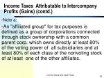 income taxes attributable to intercompany profits gains contd