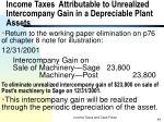 income taxes attributable to unrealized intercompany gain in a depreciable plant assets