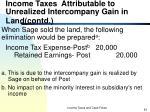 income taxes attributable to unrealized intercompany gain in land contd4