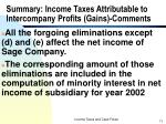 summary income taxes attributable to intercompany profits gains comments
