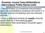 summary income taxes attributable to intercompany profits gains contd