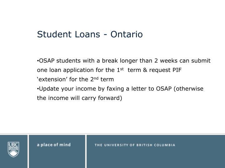 Student Loans - Ontario