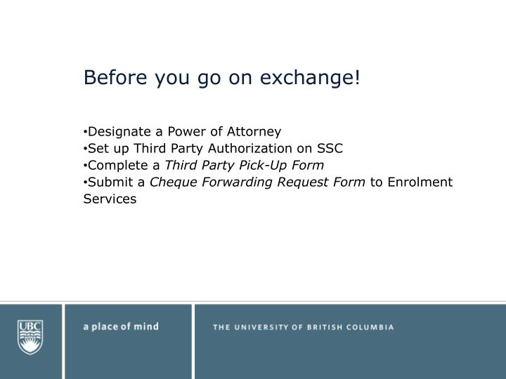 Before you go on exchange!