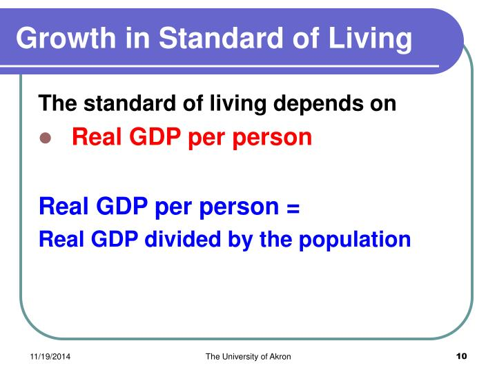 Growth in Standard of Living