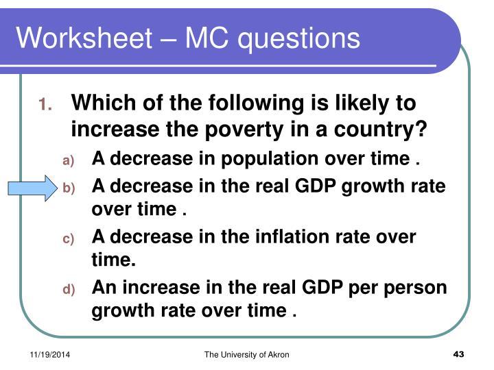 Worksheet – MC questions