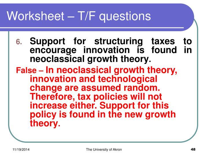 Worksheet – T/F questions