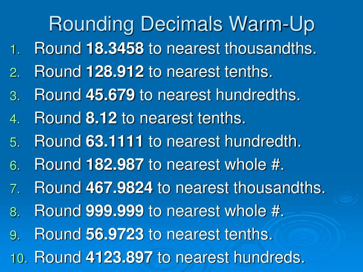 PPT - Rounding Decimals Warm-Up PowerPoint Presentation - ID